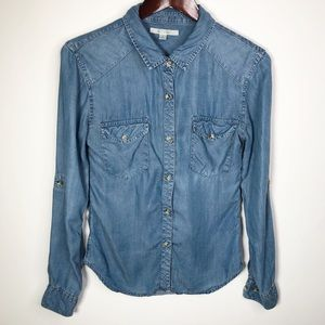 Miami Chambray Long Sleeve Button Down Shirt Small